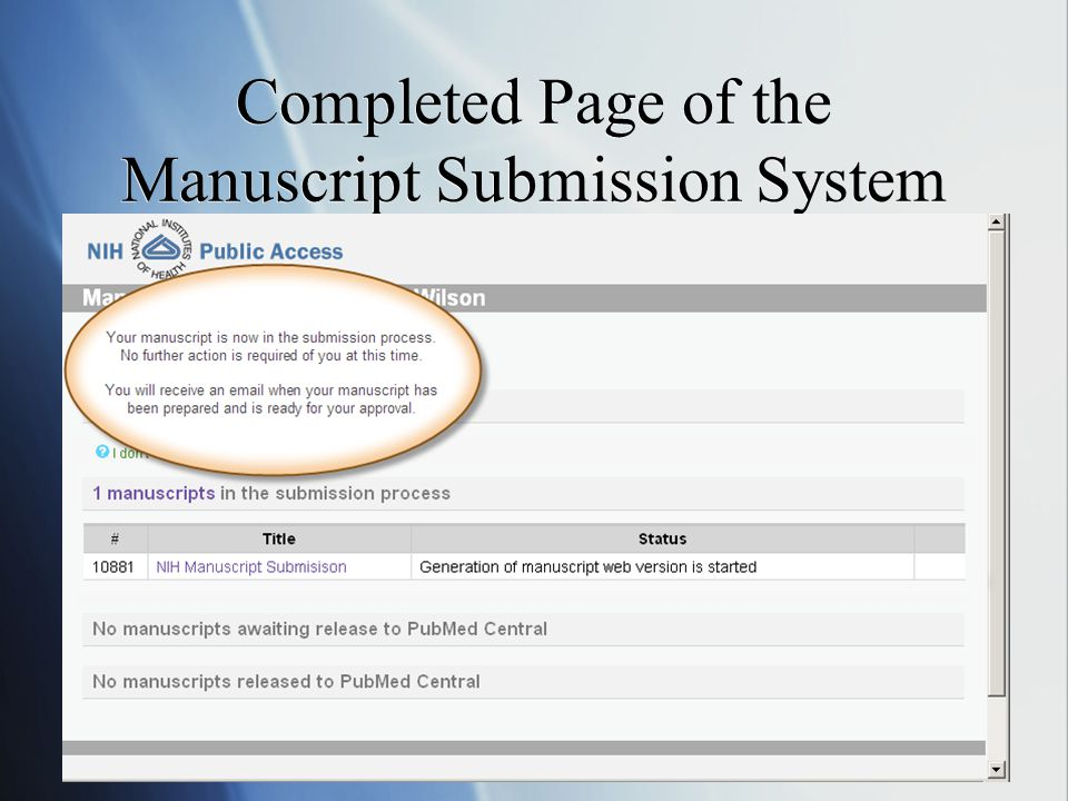 Completed Page of the Manuscript Submission System