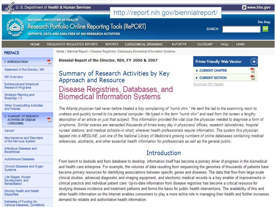 08-SEP-201118 http://report.nih.gov/UploadDocs/Biomed_Info_Resources_FY08_09.pdf http://report.nih.gov/biennialreport/