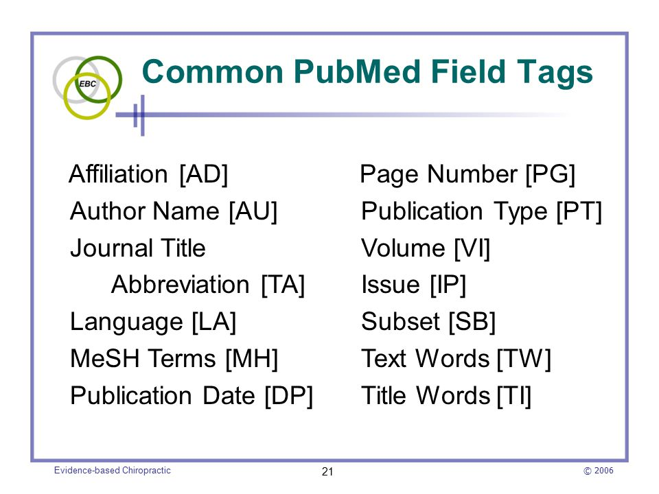 © 2006 Evidence-based Chiropractic 21 Common PubMed Field Tags Affiliation [AD] Author Name [AU] Journal Title Abbreviation [TA] Language [LA] MeSH Terms [MH] Publication Date [DP] Page Number [PG] Publication Type [PT] Volume [VI] Issue [IP] Subset [SB] Text Words [TW] Title Words [TI]
