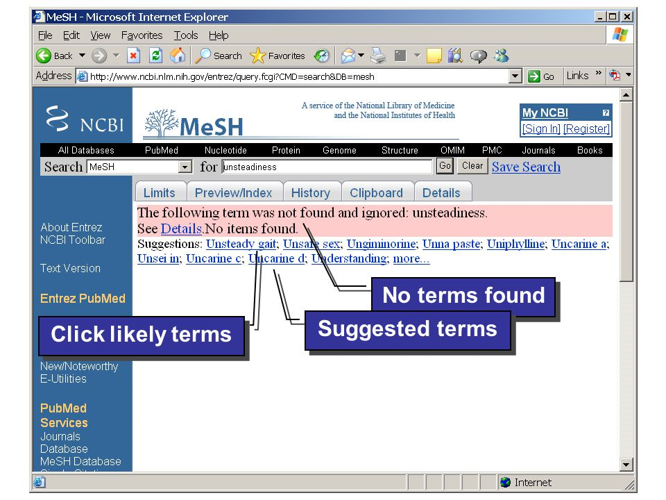 © 2006 Evidence-based Chiropractic 47 List of MeSH terms (only one in this case)