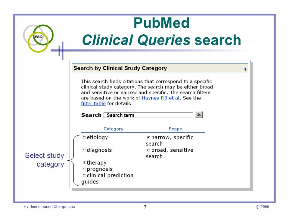 © 2006 Evidence-based Chiropractic 8 The MANTIS High Clinical Relevancy option is similar to PubMed's Clinical Queries High Clinical Relevancy limits a search to articles that involve clinical trials or case reports MANTIS