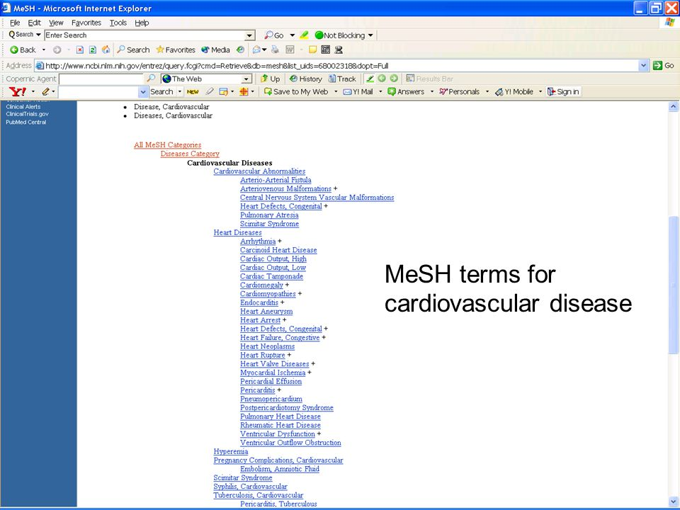 MeSH terms for cardiovascular disease