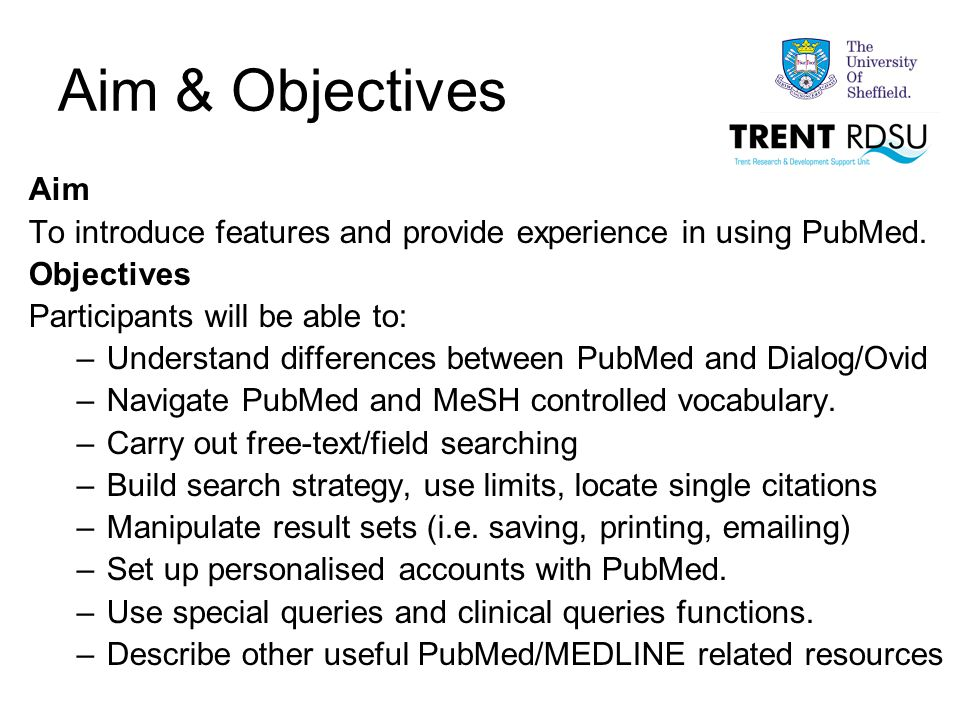 ATM and Phrase Searching Demonstrate searching when PubMed is selected as the database.