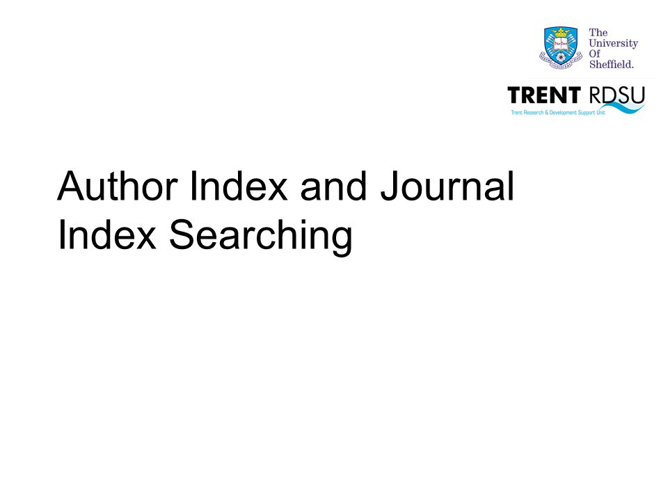 Author Index and Journal Index Searching