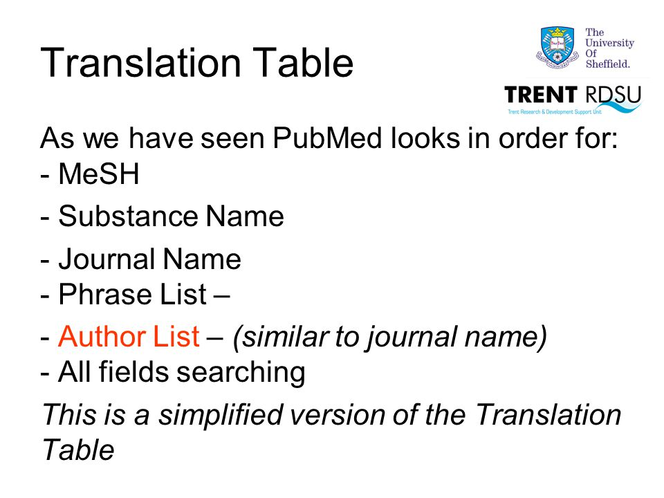 Translation Table As we have seen PubMed looks in order for: - MeSH - Substance Name - Journal Name - Phrase List – - Author List – (similar to journal name) - All fields searching This is a simplified version of the Translation Table