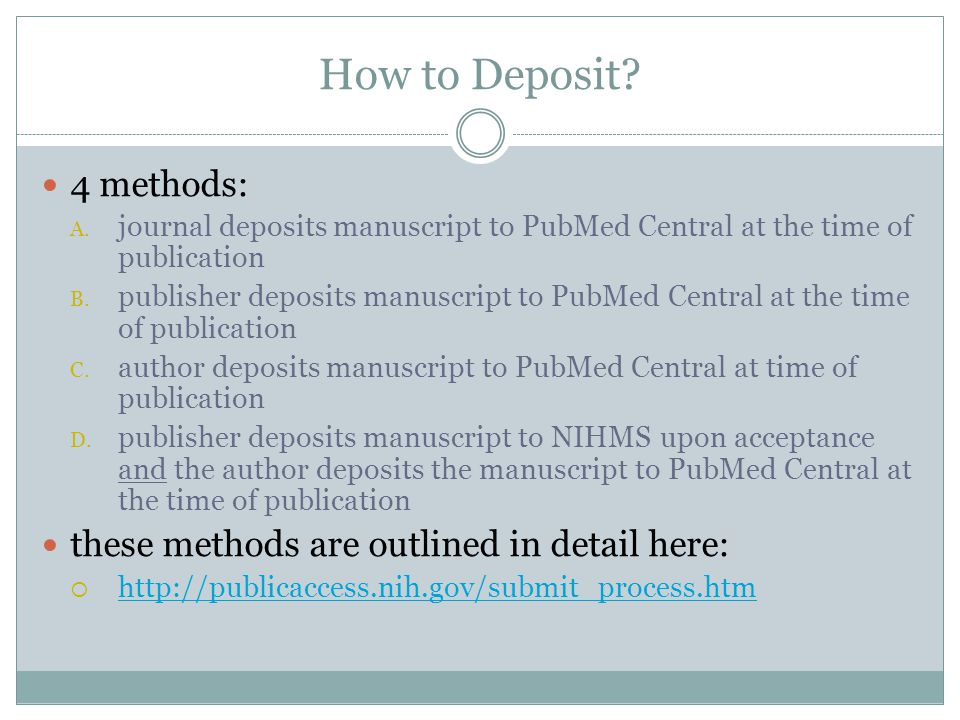 How to Deposit. 4 methods: A.