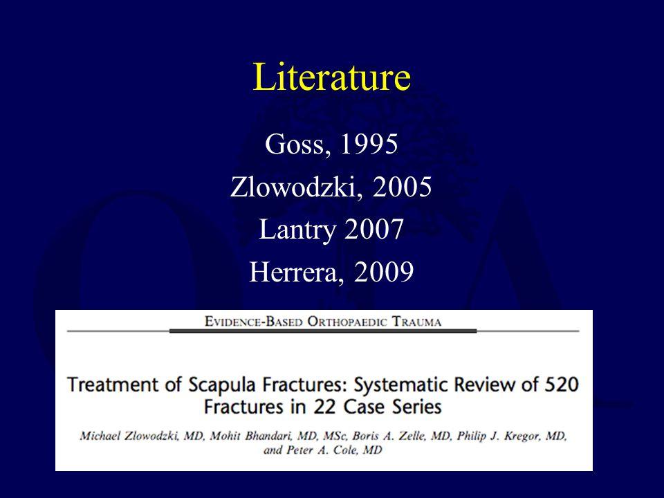Literature Goss, 1995 Zlowodzki, 2005 Lantry 2007 Herrera, 2009