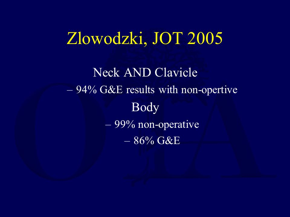 Zlowodzki, JOT 2005 Neck AND Clavicle –94% G&E results with non-opertive Body –99% non-operative –86% G&E