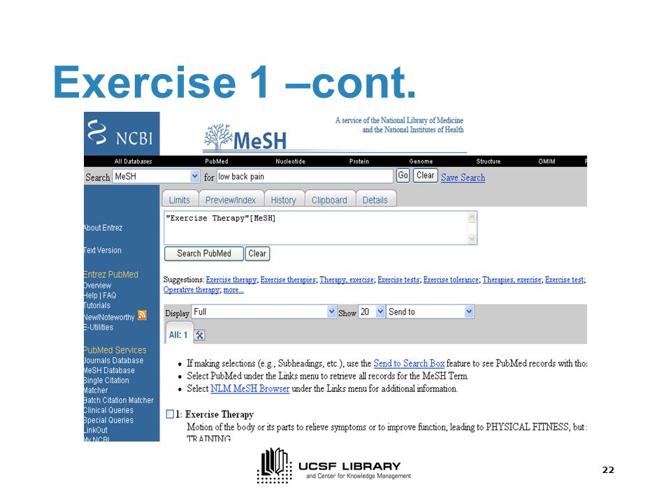 21 Exercise 1 –cont.