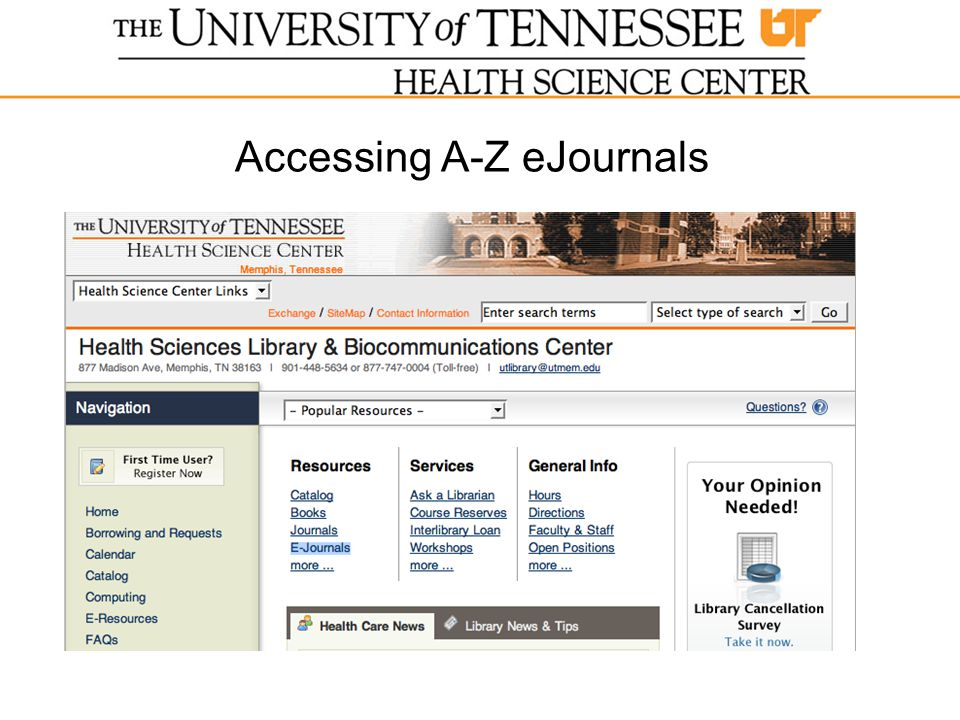 Accessing A-Z eJournals