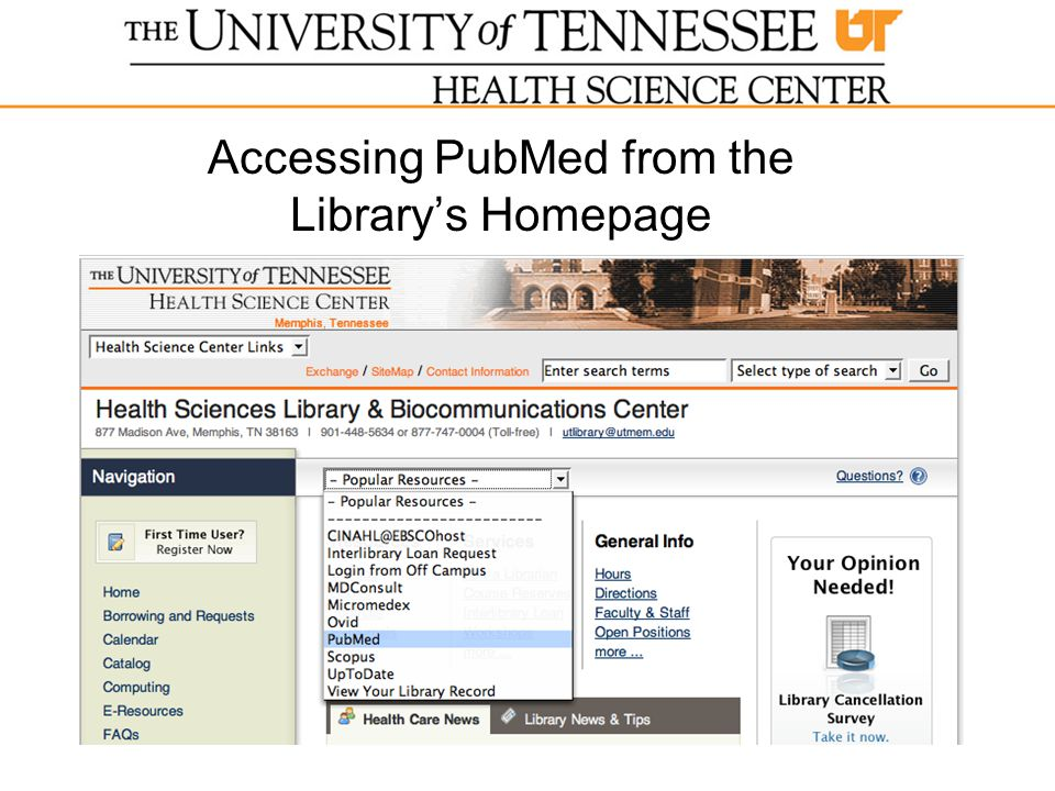 Accessing PubMed from the Library's Homepage