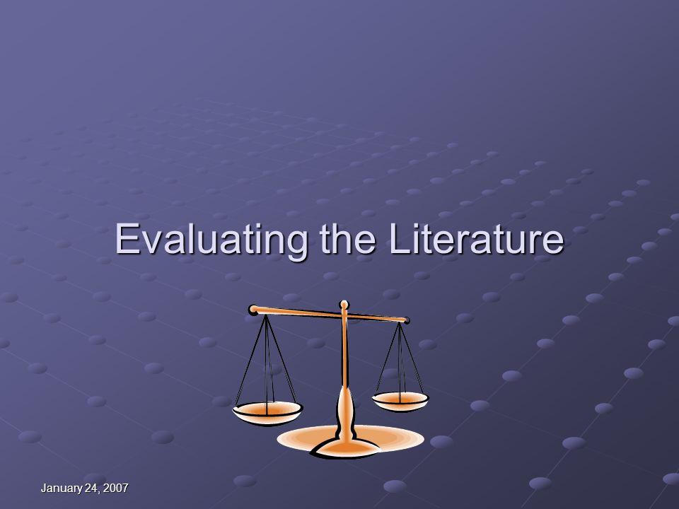Evaluating the Literature