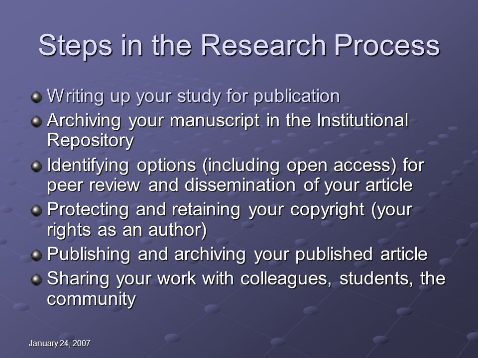 January 24, 2007 Scholarly Communication Resources Scholarly Communication Page http://library.med.utah.edu/km/scholarcomm.php Institutional Repository http://ir.utah.edu/ SPARC: Scholarly Publishing and Academic Resources Coalition http://www.arl.org/sparc/ Publish Not Perish http://www.publishnotperish.org free, online tutorial/introduction to scholarly publication http://www.publishnotperish.org