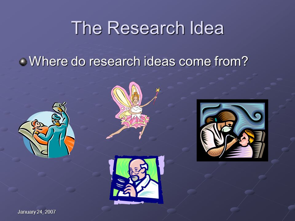 January 24, 2007 The Research Idea Where do research ideas come from?