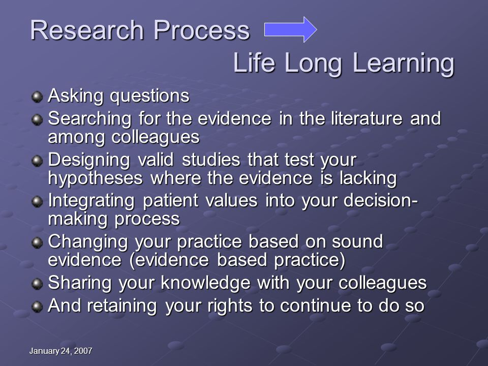 January 24, 2007 Research Process Life Long Learning Asking questions Searching for the evidence in the literature and among colleagues Designing vali