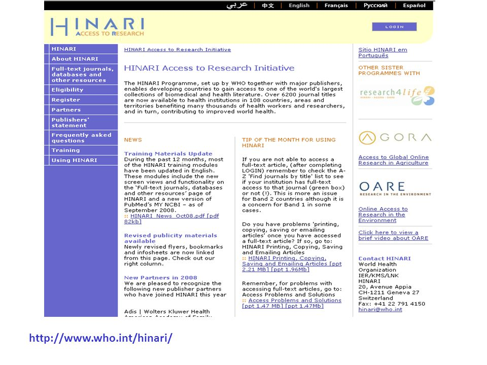 http://www.who.int/hinari/