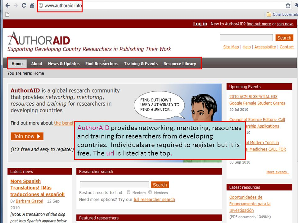 AuthorAID provides networking, mentoring, resources and training for researchers from developing countries. Individuals are required to register but i