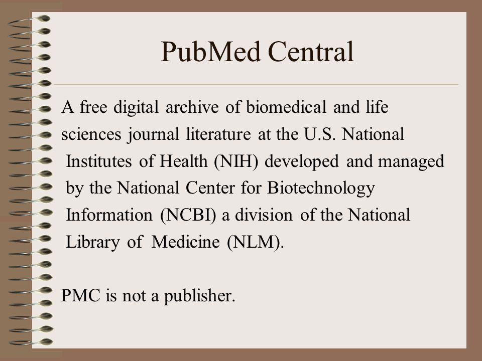 Launch Date PubMed Central (PMC) was launched in February 2000 with content from the Proceedings of the National Academy of Sciences and from Molecular Biology of the Cell.