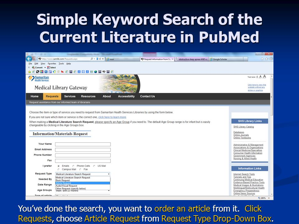 Simple Keyword Search of the Current Literature in PubMed You've done the search, you want to order an article from it.