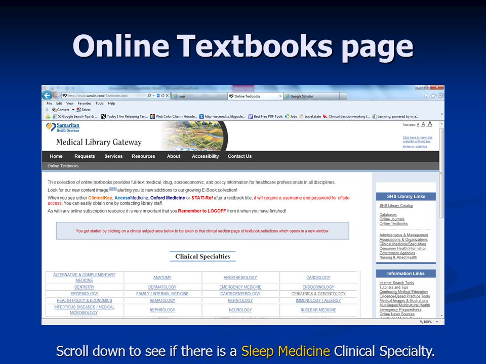 Online Textbooks page If you do find Sleep Medicine as a Clinical Specialty, click on it!