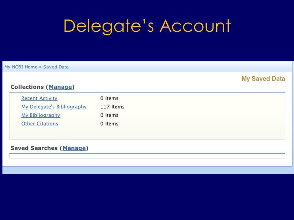 Delegate's Account