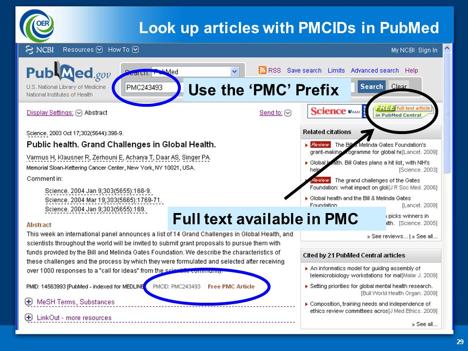 29 Look up articles with PMCIDs in PubMed Use the 'PMC' Prefix Full text available in PMC