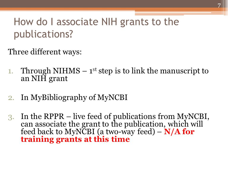 FAQ - Which citations are applicable to the policy on a training grant.