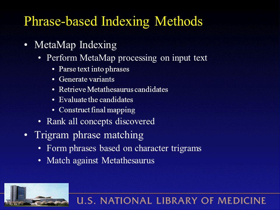 Phrase-based Indexing Methods MetaMap Indexing Perform MetaMap processing on input text Parse text into phrases Generate variants Retrieve Metathesaur