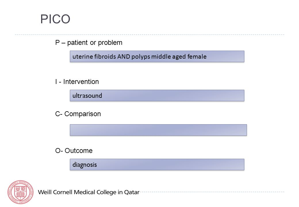 PICO P – patient or problem uterine fibroids AND polyps middle aged female I - Intervention ultrasound C- Comparison O- Outcome diagnosis