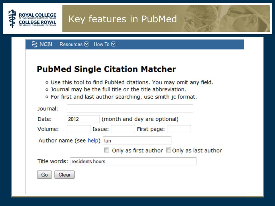 Key features in PubMed