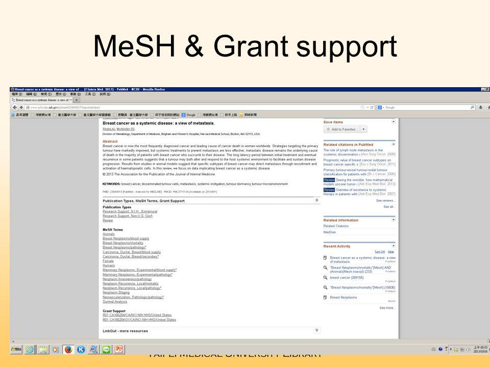 MeSH & Grant support