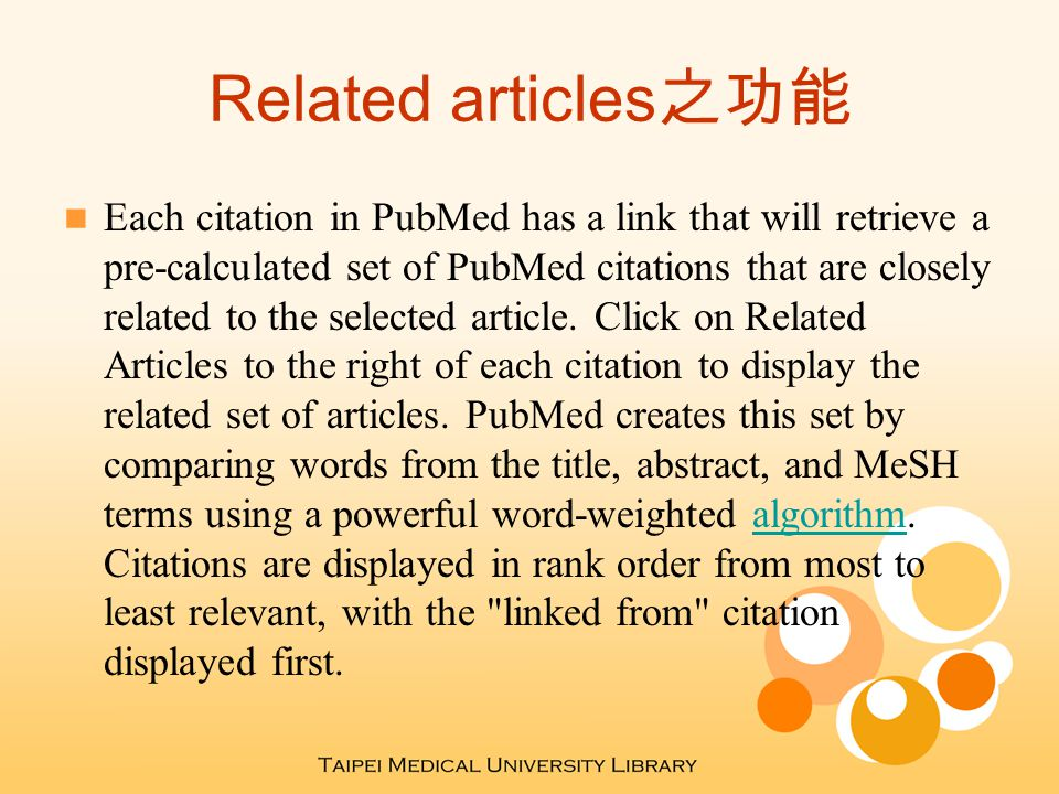 Link Out 之功能 LinkOut allows publishers, aggregators, libraries, biological databases, sequence centers, and other Web resources to display links to their sites on items from the Entrez databases.