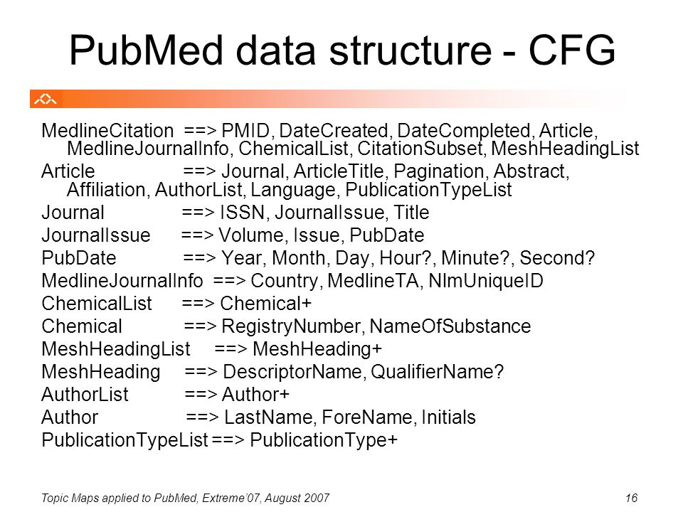 Topic Maps applied to PubMed, Extreme'07, August 200716 PubMed data structure - CFG MedlineCitation ==> PMID, DateCreated, DateCompleted, Article, MedlineJournalInfo, ChemicalList, CitationSubset, MeshHeadingList Article ==> Journal, ArticleTitle, Pagination, Abstract, Affiliation, AuthorList, Language, PublicationTypeList Journal ==> ISSN, JournalIssue, Title JournalIssue ==> Volume, Issue, PubDate PubDate ==> Year, Month, Day, Hour?, Minute?, Second.