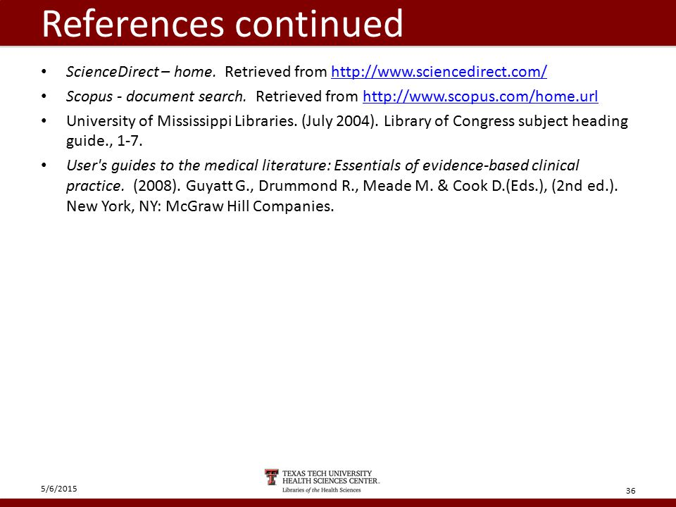 References continued ScienceDirect – home.