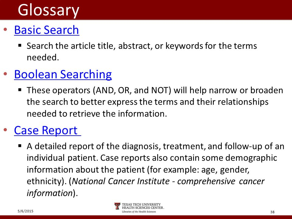 Glossary Basic Search  Search the article title, abstract, or keywords for the terms needed.
