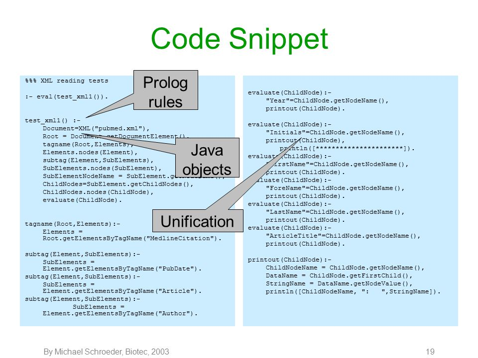 By Michael Schroeder, Biotec, 200319 Code Snippet %% XML reading tests :- eval(test_xml1()).
