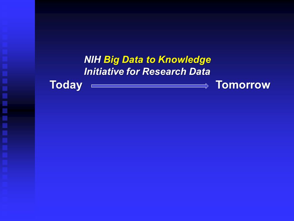 TodayTomorrow NIH Big Data to Knowledge Initiative for Research Data