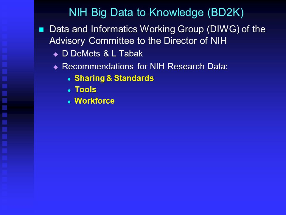 NIH Big Data to Knowledge (BD2K) Data and Informatics Working Group (DIWG) of the Advisory Committee to the Director of NIH Data and Informatics Working Group (DIWG) of the Advisory Committee to the Director of NIH  D DeMets & L Tabak  Recommendations for NIH Research Data:  Sharing & Standards  Tools  Workforce