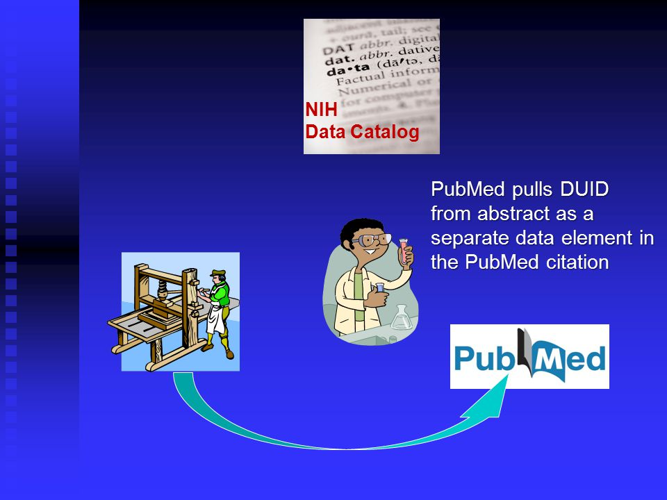 NIH Data Catalog PubMed pulls DUID from abstract as a separate data element in the PubMed citation
