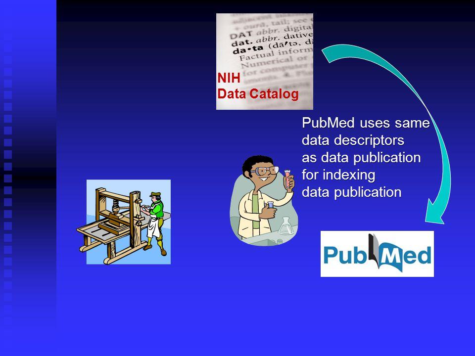 NIH Data Catalog PubMed uses same data descriptors as data publication for indexing data publication