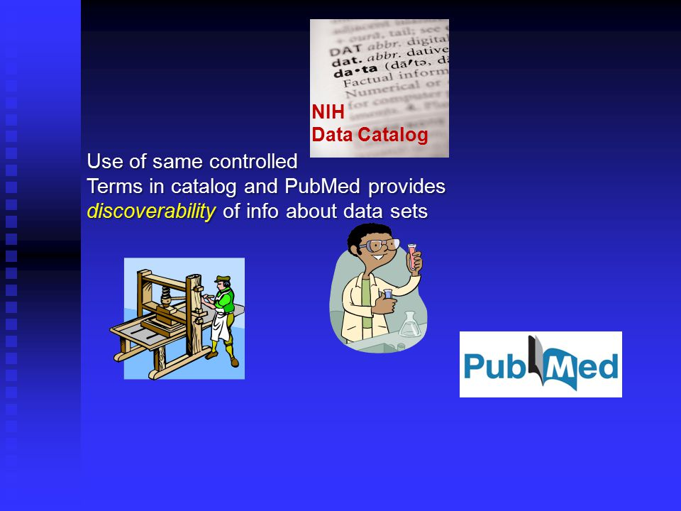 NIH Data Catalog Use of same controlled Terms in catalog and PubMed provides discoverability of info about data sets