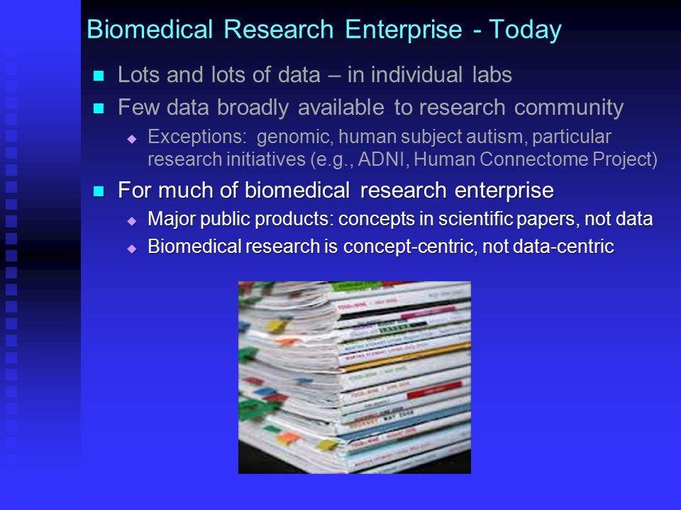 Biomedical Research Enterprise - Today Lots and lots of data – in individual labs Few data broadly available to research community   Exceptions: genomic, human subject autism, particular research initiatives (e.g., ADNI, Human Connectome Project) For much of biomedical research enterprise For much of biomedical research enterprise  Major public products: concepts in scientific papers, not data  Biomedical research is concept-centric, not data-centric