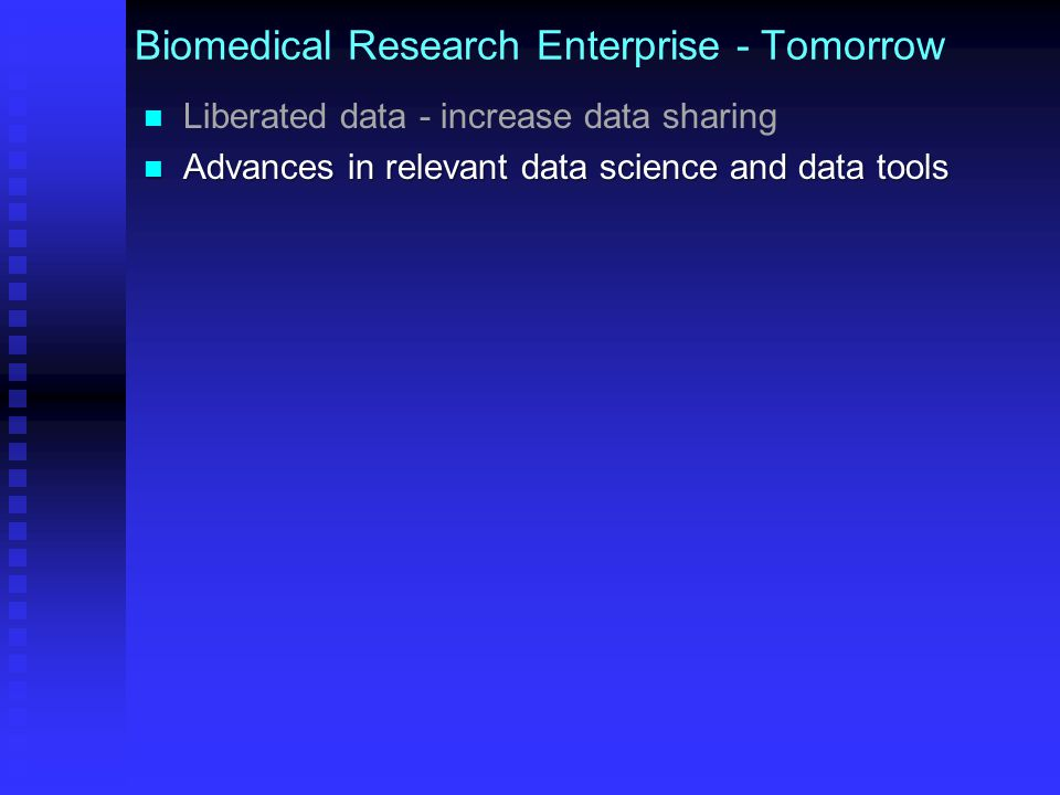Bringing Data into the Research Ecosystem Data more available (policies) & useful (standards) Data sets are discoverable: Data sets are discoverable:  Same descriptors of data sets used in data catalog are used as index and search terms in PubMed