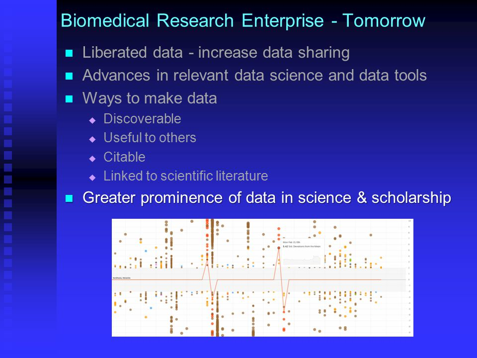 Biomedical Research Enterprise - Tomorrow Liberated data - increase data sharing Advances in relevant data science and data tools Ways to make data   Discoverable   Useful to others   Citable   Linked to scientific literature Greater prominence of data in science & scholarship Greater prominence of data in science & scholarship