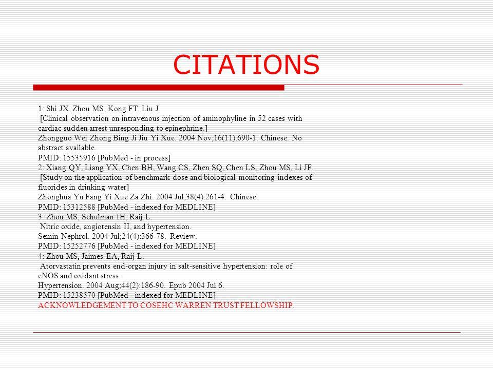 CITATIONS 1: Shi JX, Zhou MS, Kong FT, Liu J.