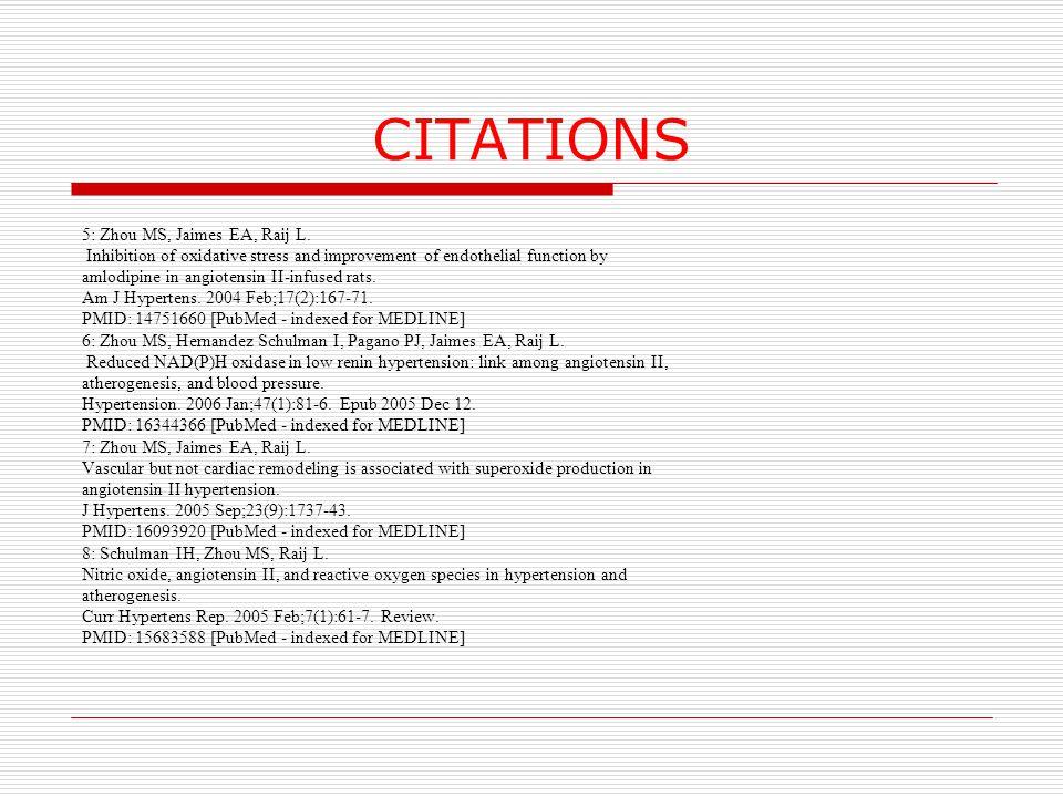 CITATIONS 5: Zhou MS, Jaimes EA, Raij L.