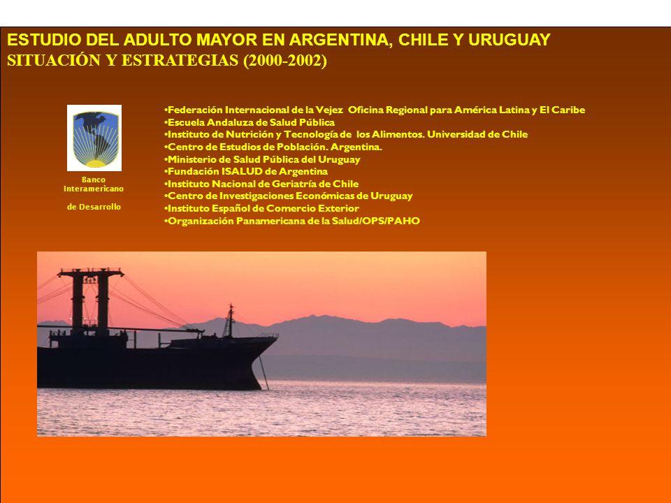 ESTUDIO DEL ADULTO MAYOR EN ARGENTINA, CHILE Y URUGUAY SITUACIÓN Y ESTRATEGIAS (2000-2002) Federación Internacional de la Vejez Oficina Regional para América Latina y El Caribe Escuela Andaluza de Salud Pública Instituto de Nutrición y Tecnología de los Alimentos.