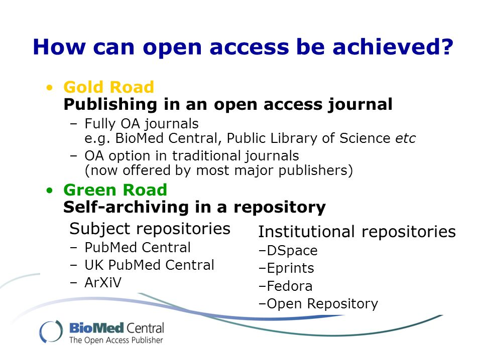 OA journals and OA repositories are a great fit together Repositories are vital, but… Not a complete solution in themselves, if dependent on subscription journals, embargo periods etc… OA journals are compatible with full and immediate open access via repositories