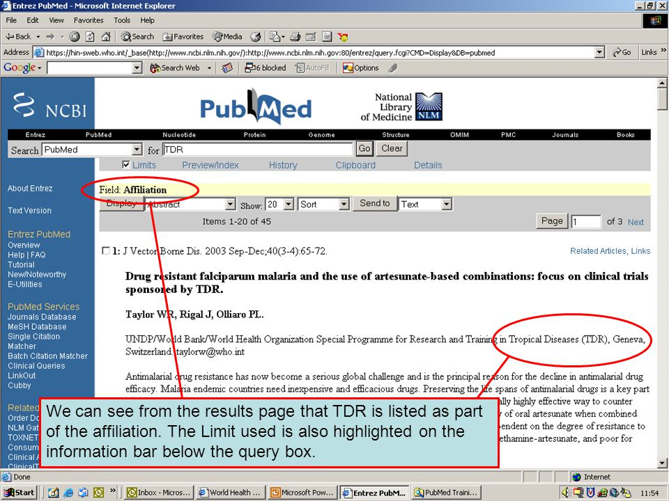Results displayed using limits We can see from the results page that TDR is listed as part of the affiliation.