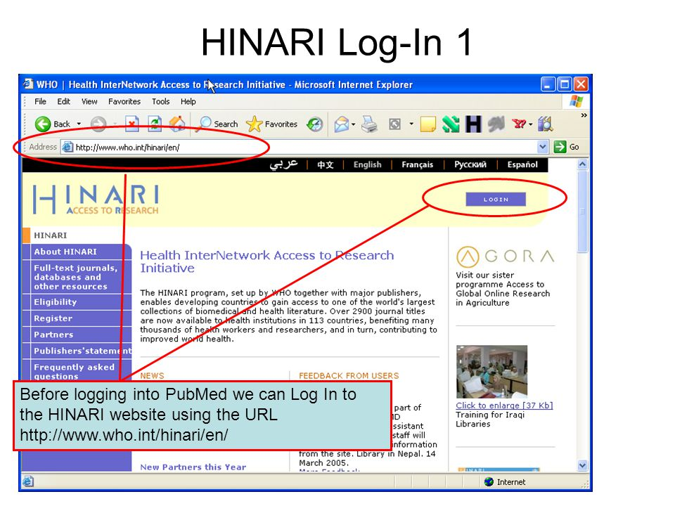HINARI Log-In 2 You will need to insert your HINARI User ID and password in the Log In box and click on the Sign On Icon